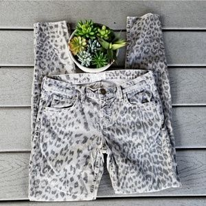 Current Elliot The Rolled Skinny Grey Leopard Jean